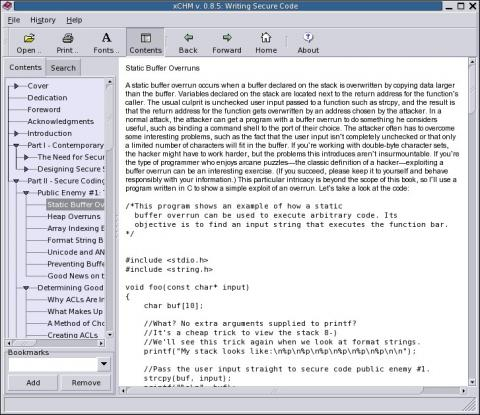 Xchm - linux chm viewer