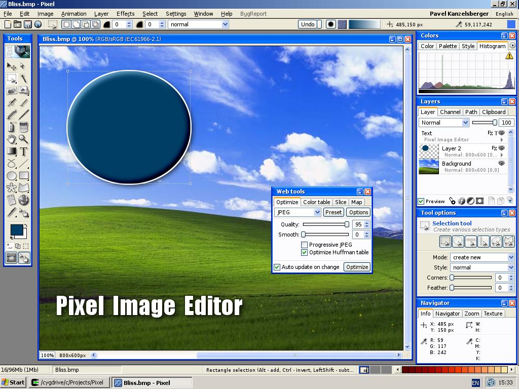 Pixel photo editor on Windows XP