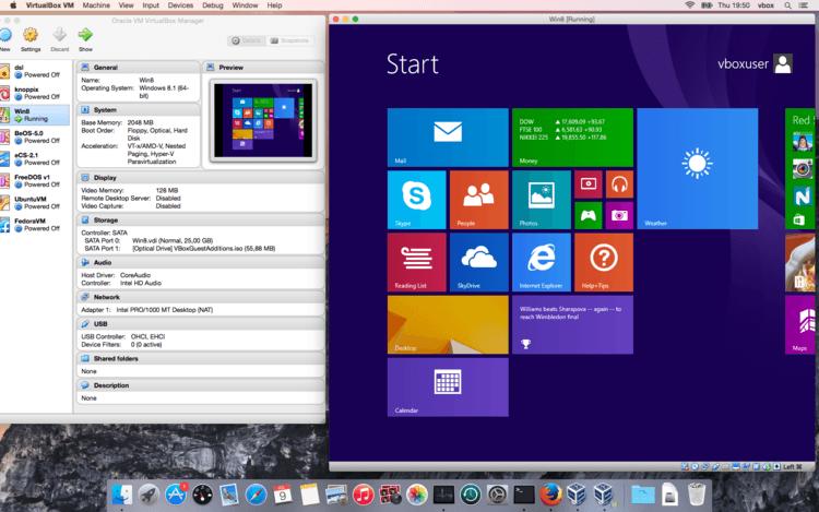 VirtualBox Windows 8.1 on OSX