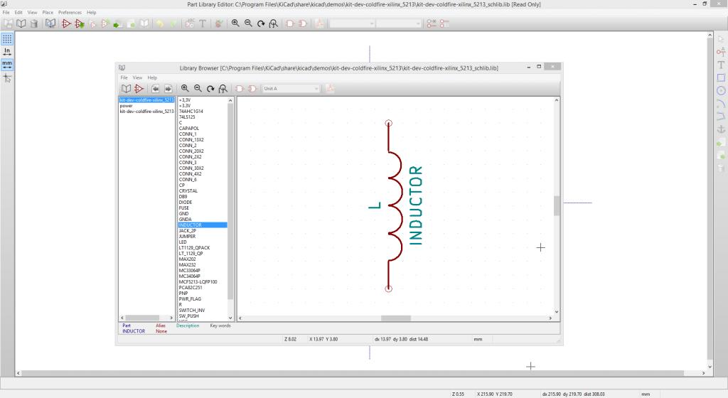 KiCad eeschema library browser