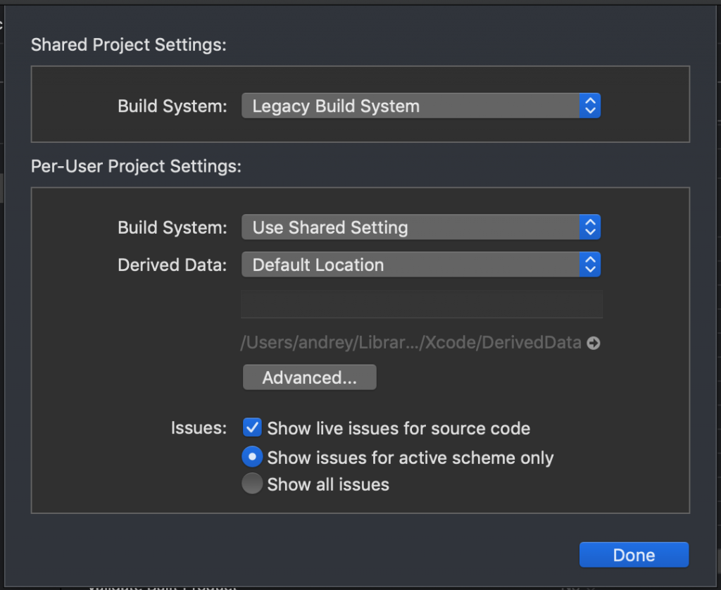 Xcode Legacy Build System